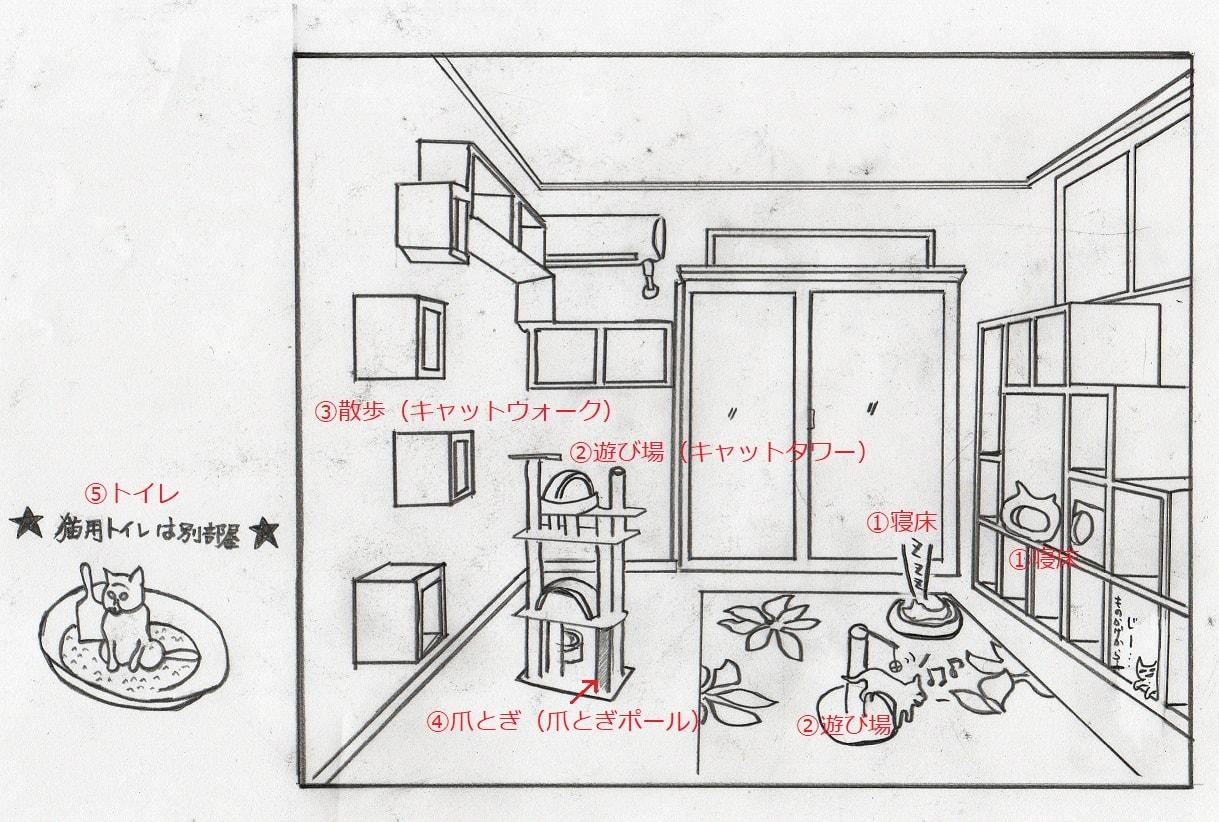 様々な設備が整った猫部屋。